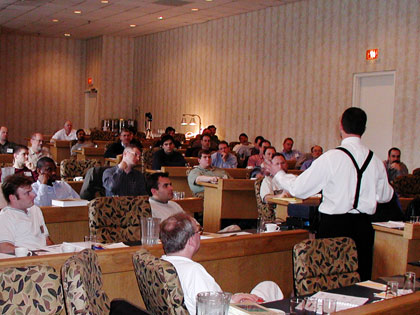 Dr. Johnson speaks to a roomful of engineers in Westboro, MA (2004)